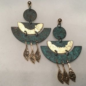 Jewelry - Patina and Goldtone Earrings
